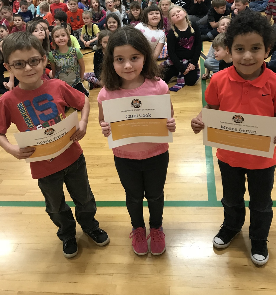 1st Grade Ranger Pride Students of the Month