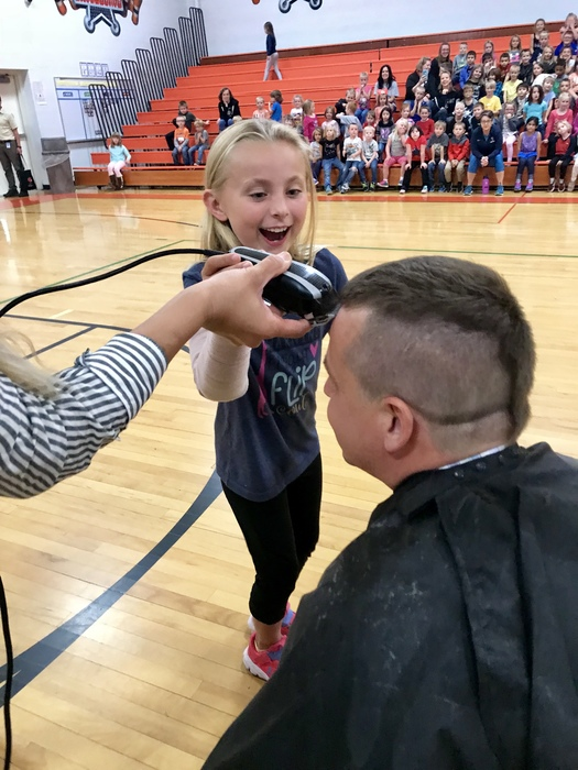 M-STEP superstar student shaving her teacher, Mr. Case's Head!