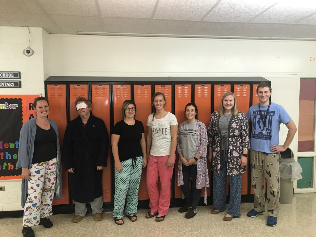 7th and 8th grade teachers hanging in their pjs for spirit week.
